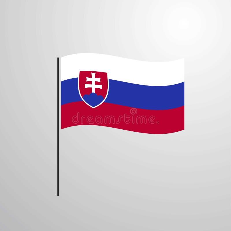 Флаг Словакии развевая бесплатная иллюстрация