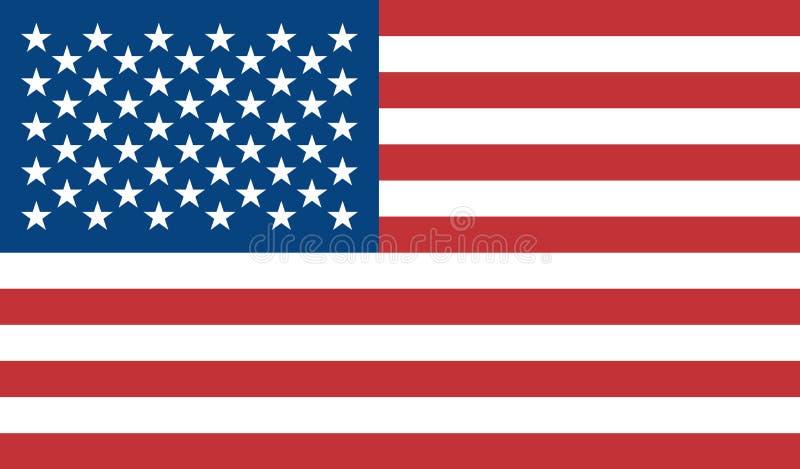 Флаг Соединенных Штатов Америки покрашен Флаг вектора красочный США Голубой, красный, белый Возразите изолированную предпосылку иллюстрация штока