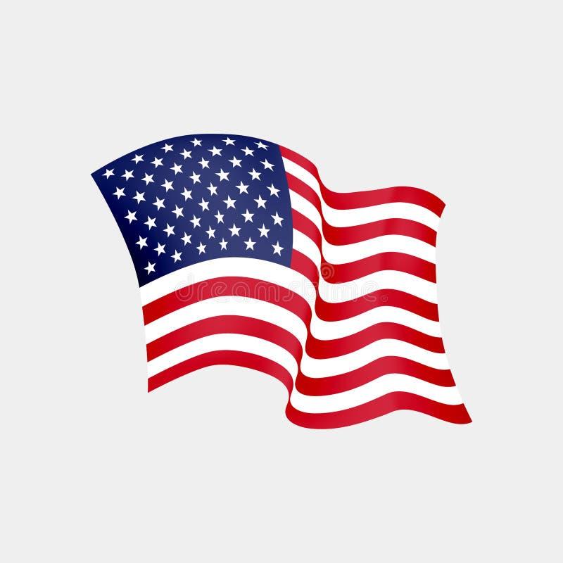 Флаг Соединенных Штатов Америки развевая r Флаг США развевая бесплатная иллюстрация