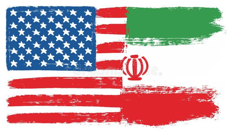 Флаг Соединенных Штатов Америки & рука вектора флага Ирана покрашенная с округленной щеткой иллюстрация штока