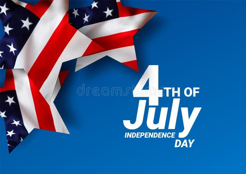 Флаг Соединенных Штатов Америки США на праздник 4-ое -го июль Праздновать День независимости   - Вектор иллюстрация штока