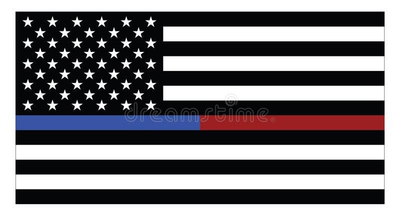 Флаг Соединенных Штатов Америки с голубыми и красными тонкими линиями бесплатная иллюстрация