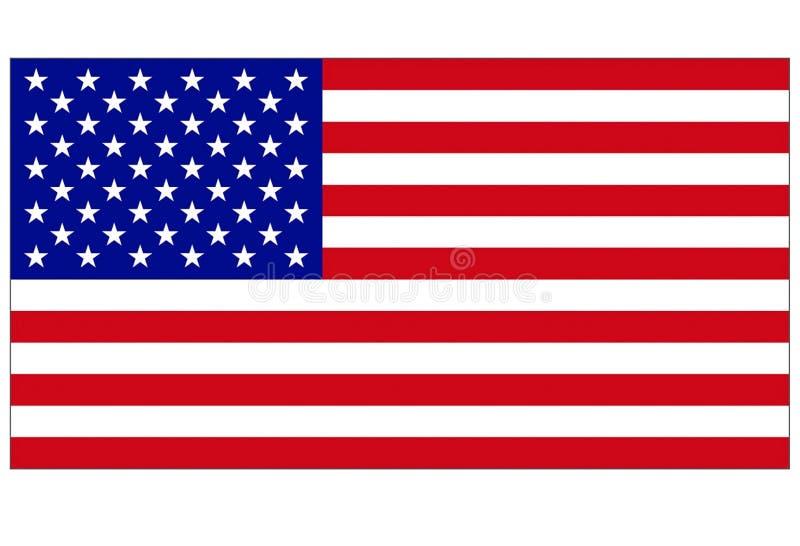 Флаг Соединенных Штатов Америки с тонкой белой оправой границы иллюстрация вектора
