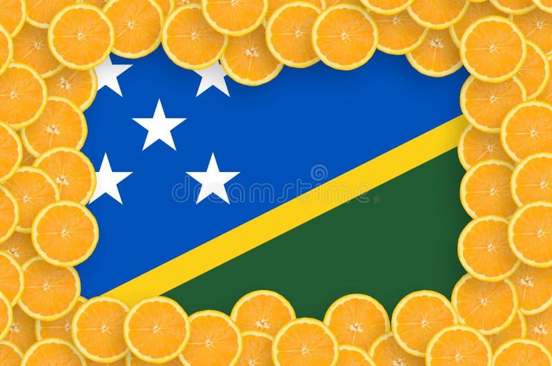 Флаг Соломоновых Островов в свежей рамке кусков цитрусовых фруктов иллюстрация вектора