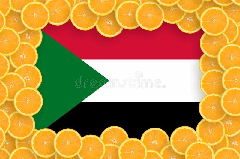 Флаг Судана в свежей рамке кусков цитрусовых фруктов бесплатная иллюстрация