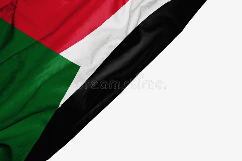 Флаг Судана ткани с copyspace для вашего текста на белой предпосылке иллюстрация штока