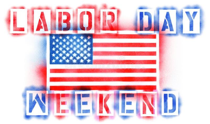 Флаг США американца и текст выходных Дня Труда в красных, белых, и голубых восковках краски для пульверизатора иллюстрация штока
