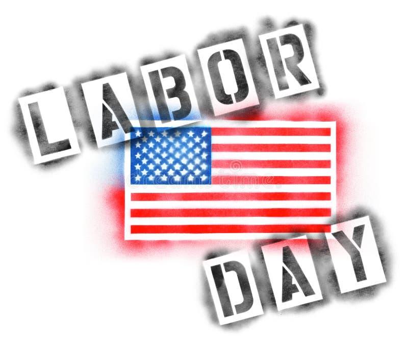 Флаг США американца и текст Дня Труда в восковках краски для пульверизатора иллюстрация вектора