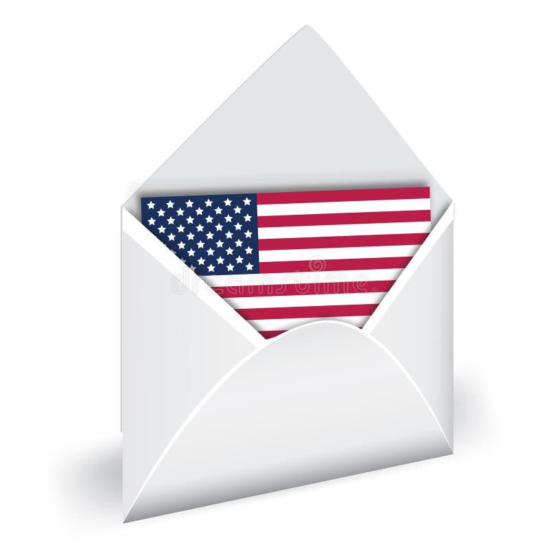 Флаг США в конверте иллюстрация штока