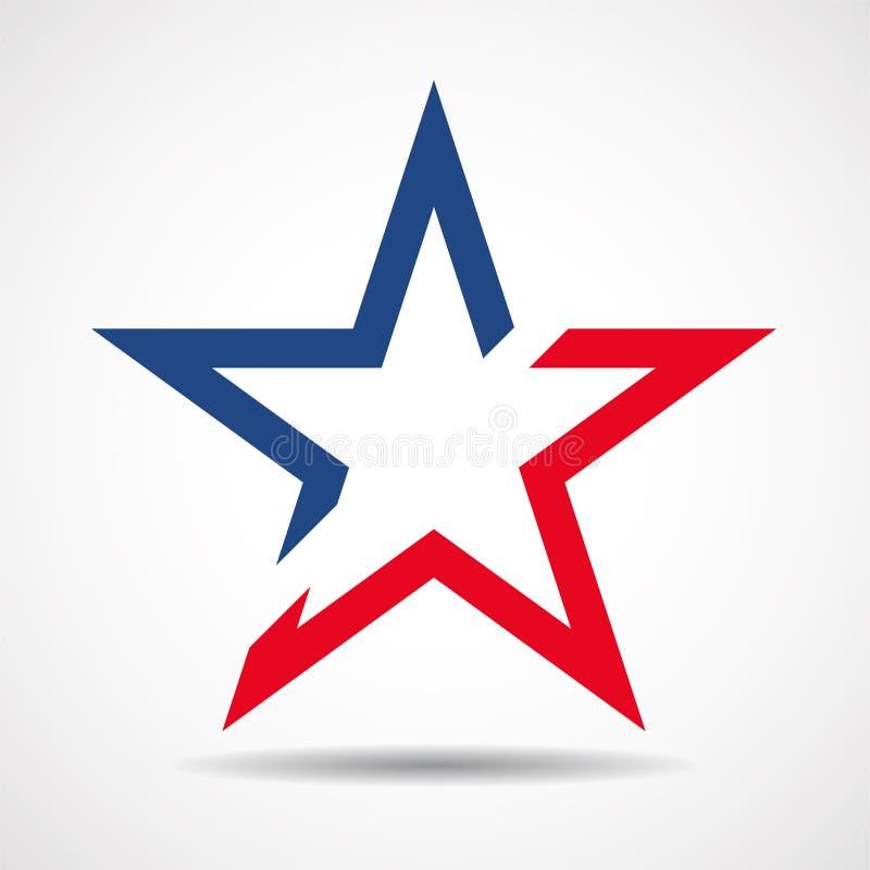 Флаг США в форме звезды американская звезда иллюстрация вектора