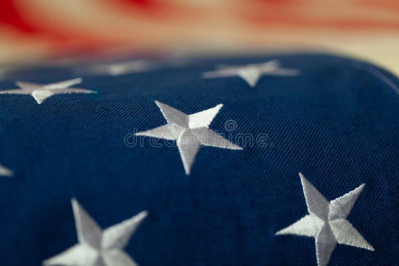 Флаг США - конец вверх по съемке студии стоковая фотография rf