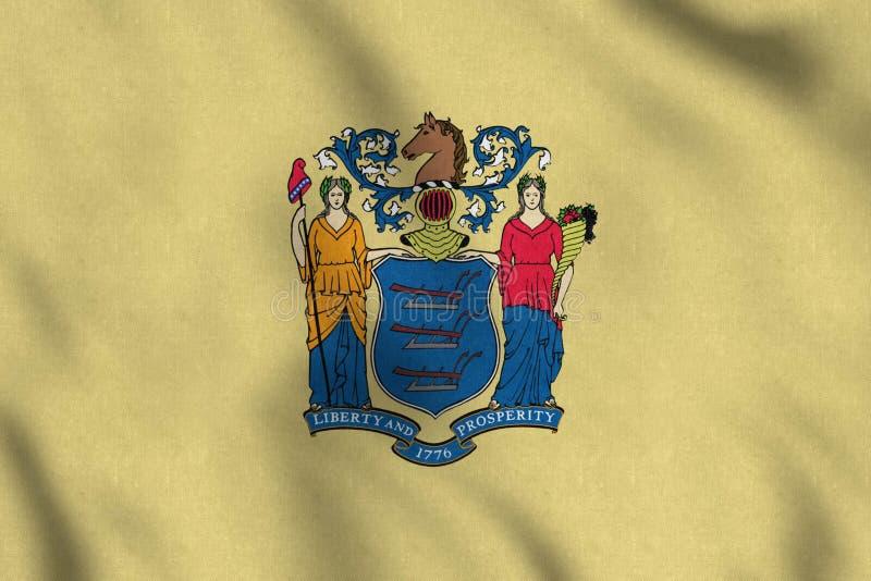 Флаг США Нью-Джерси нежно развевая в ветре иллюстрация штока