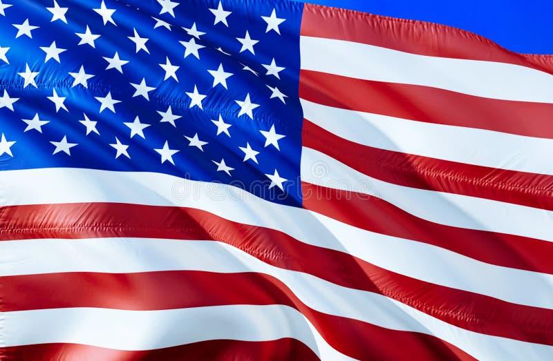 флаг США развевая дизайн флага 3D Национальный символ США, перевод 3D Цвета Соединенных Штатов национальные Национальный флаг США стоковое фото rf