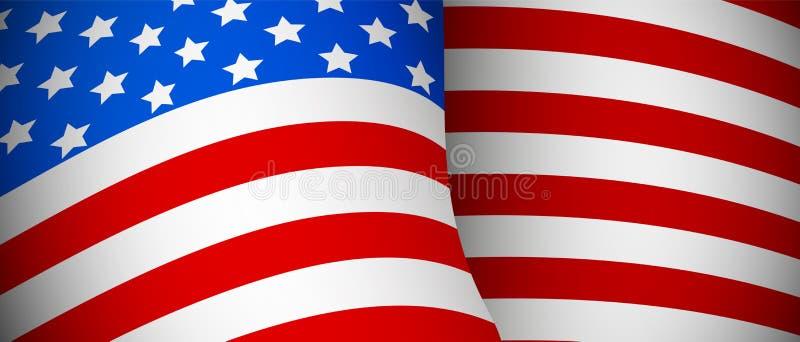 Флаг США реалистический волнистый на белом векторе крупного плана иллюстрация штока