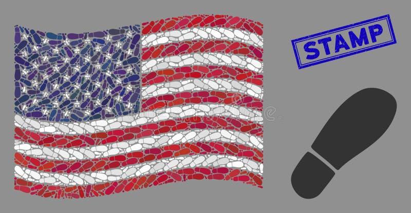 Флаг США стал стилизованным составом шлейфа 'Boot Footprint' и шкатулки 'Scratched Stamp Seal' бесплатная иллюстрация