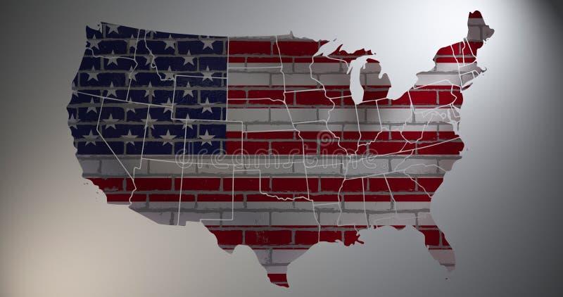 Флаг США с силуэтом карты иллюстрация 3d бесплатная иллюстрация