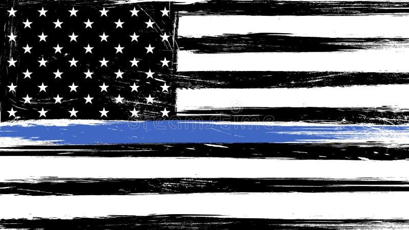 Флаг США Grunge с тонкой голубой линией иллюстрация вектора
