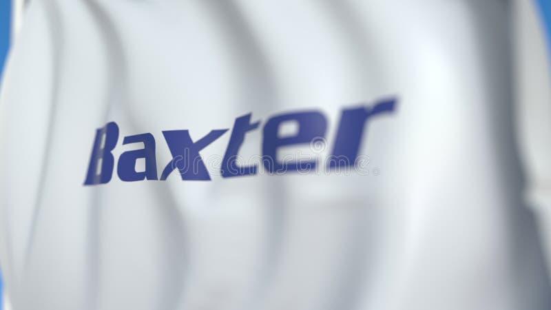 Флаг с логотипом Baxter International Редакционная трехмерная отрисовка иллюстрация штока