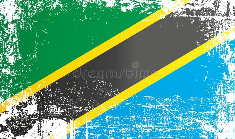 Флаг Танзании, Объединенной республикаы Танзания Сморщенные грязные пятна иллюстрация штока