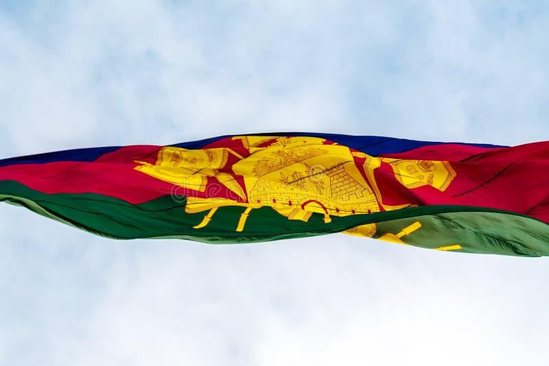 Флаг территории Краснодар превращается в ветре стоковая фотография rf