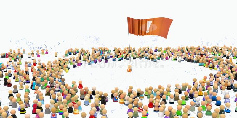 флаг толпы шаржа иллюстрация вектора