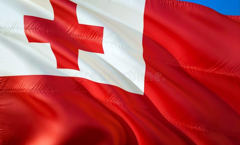 флаг Тонга развевая дизайн флага 3D Национальный символ Тонги, перевода 3D Национальные цвета знака Тонги 3D развевая стоковые изображения rf