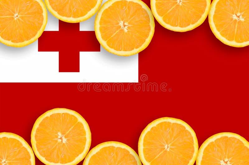 Флаг Тонги в рамке кусков цитрусовых фруктов горизонтальной иллюстрация штока