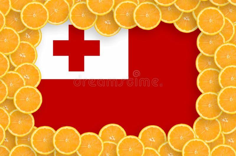 Флаг Тонги в свежей рамке кусков цитрусовых фруктов иллюстрация вектора
