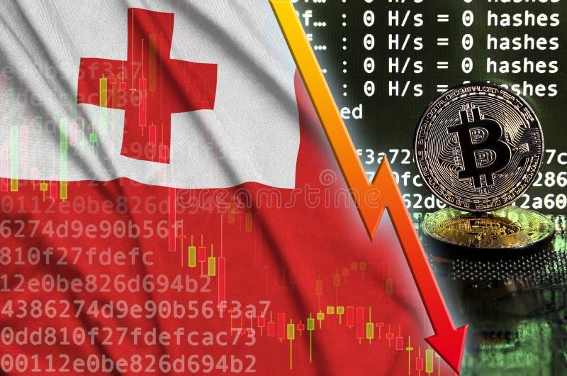 Флаг Тонги и падая красная стрелка на экране bitcoin минируя и 2 физических золотых bitcoins иллюстрация штока