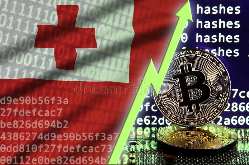 Флаг Тонги и поднимая зеленая стрелка на экране bitcoin минируя и 2 физических золотых bitcoins иллюстрация штока