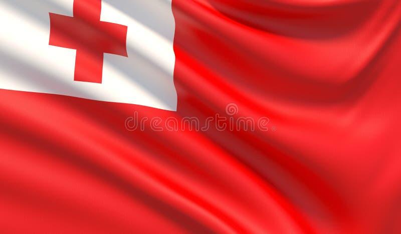 Флаг Тонги Развевали сильно детальная текстура ткани : иллюстрация вектора