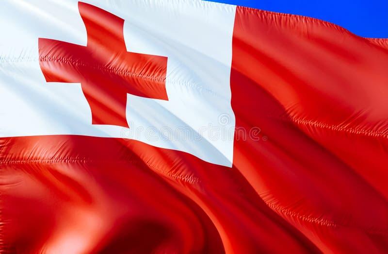 Флаг Тонги развевая дизайн флага 3D Национальный символ Тонги, перевода 3D Национальные цвета и национальный флаг Тонги для a бесплатная иллюстрация