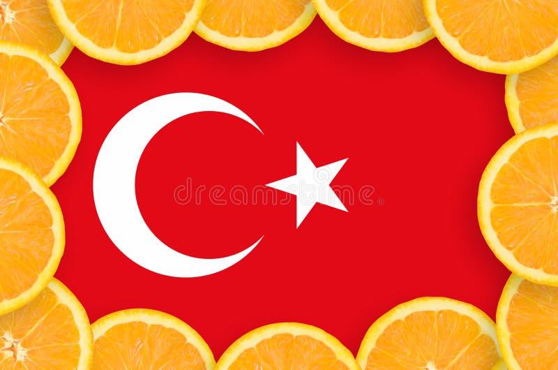 Флаг Турции в свежей рамке кусков цитрусовых фруктов иллюстрация штока