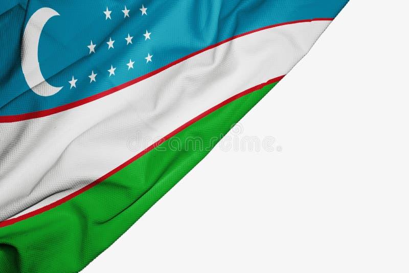 Флаг Узбекистана ткани с copyspace для вашего текста на белой предпосылке бесплатная иллюстрация