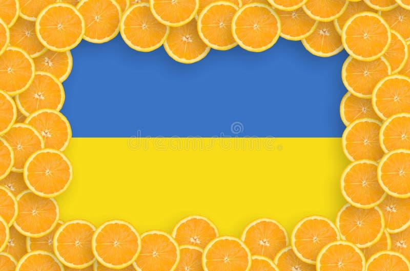 Флаг Украины в свежей рамке кусков цитрусовых фруктов бесплатная иллюстрация