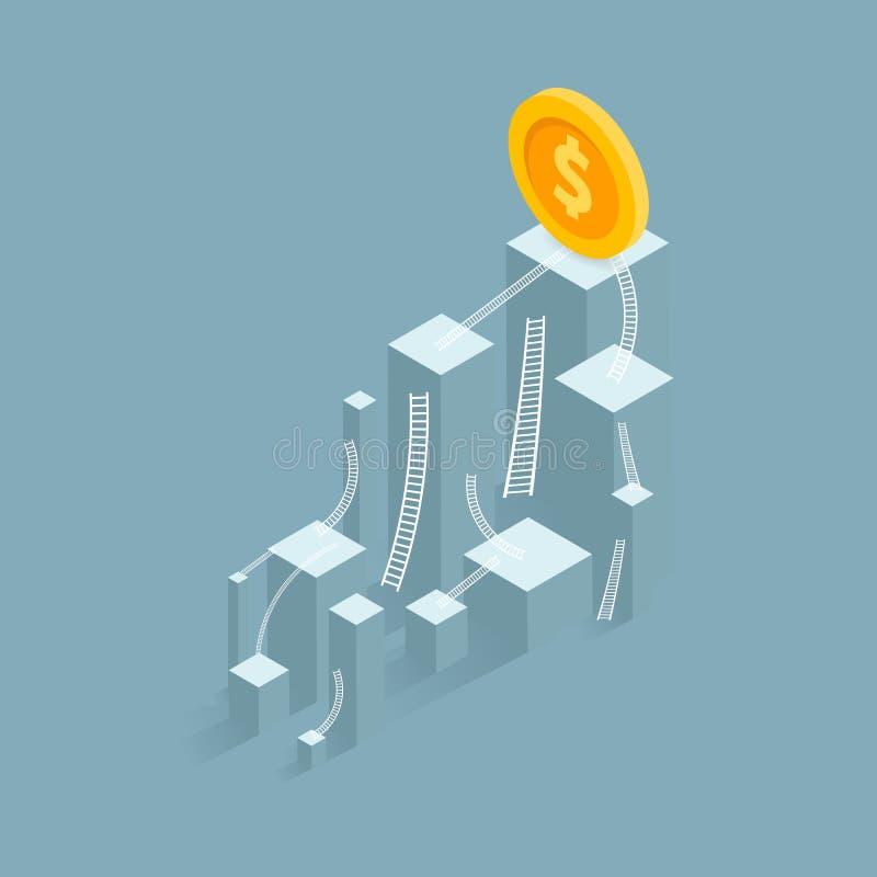 Флаг успеха дело столбчатой диаграммы к успеху финансового план-графика Руководитель, победитель и концепция успеха Illu вектора иллюстрация штока