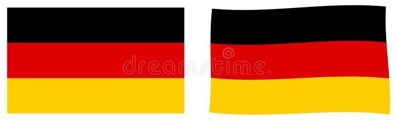 Флаг Федеративной республики Германии Простое и немножко развевая ver иллюстрация штока