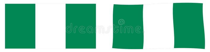 Флаг Федеративной Республики Нигерии Простое и немножко развевая ver бесплатная иллюстрация