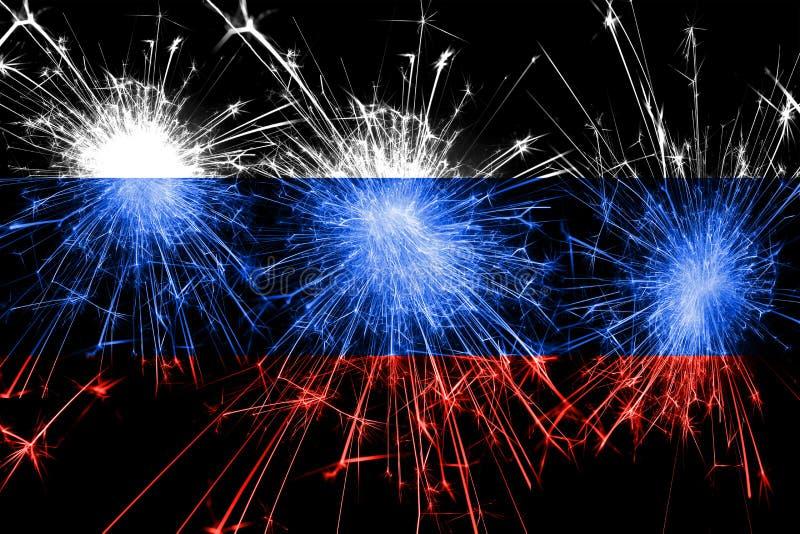 Флаг фейерверков России сверкная Концепция Нового Года, рождества и национального праздника стоковые изображения rf