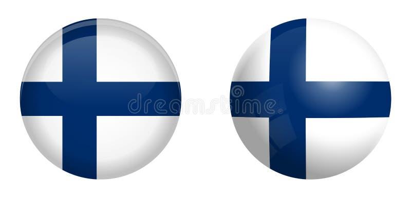Флаг Финляндии под кнопкой купола 3d и на лоснистых сфере/шарике иллюстрация вектора