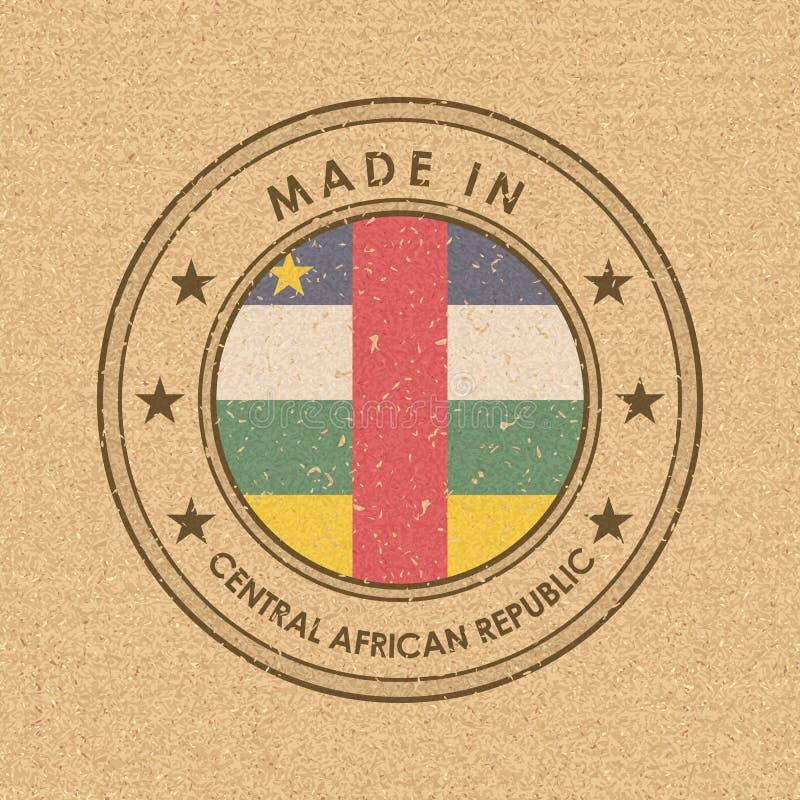 Флаг флага Центральноафриканской Республики Круглый ярлык с именем страны для уникальных национальных товаров r иллюстрация штока