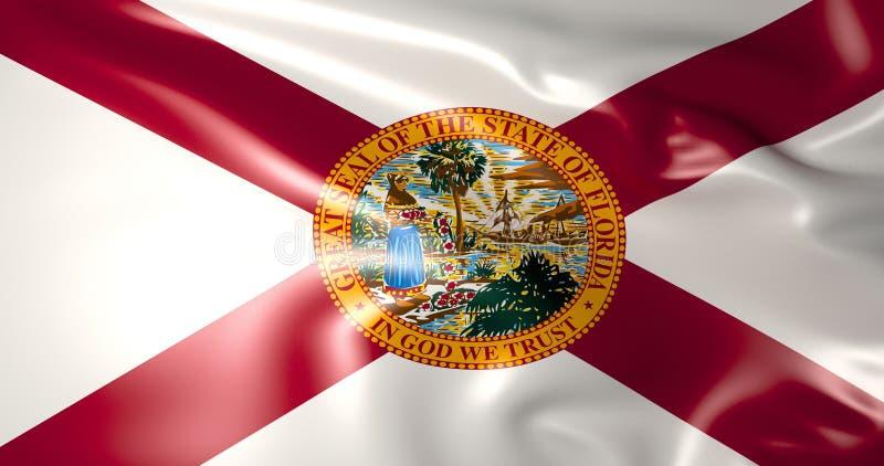 Флаг Флориды положения америки соединили иллюстрация 3d иллюстрация вектора