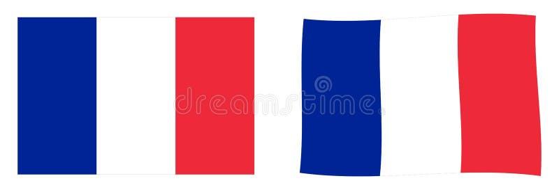 флаг Франция Простая и немножко развевая версия бесплатная иллюстрация