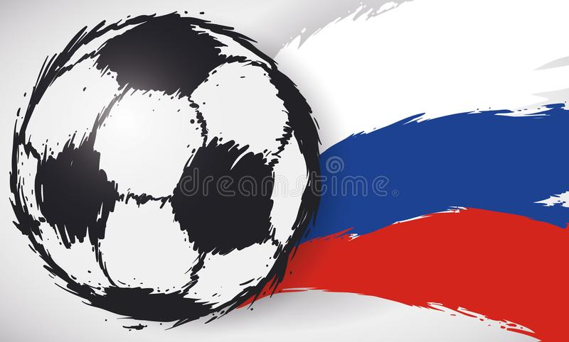 Флаг футбольного мяча и русского в стиле Brushstroke, иллюстрации вектора бесплатная иллюстрация