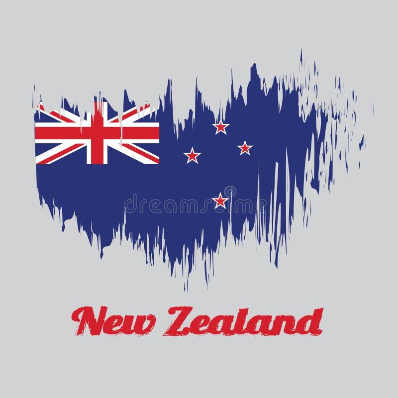 Флаг цвета стиля щетки Новой Зеландии, голубой Ensign с южным крестом 4 звезд центризовал на наружной половине флага бесплатная иллюстрация