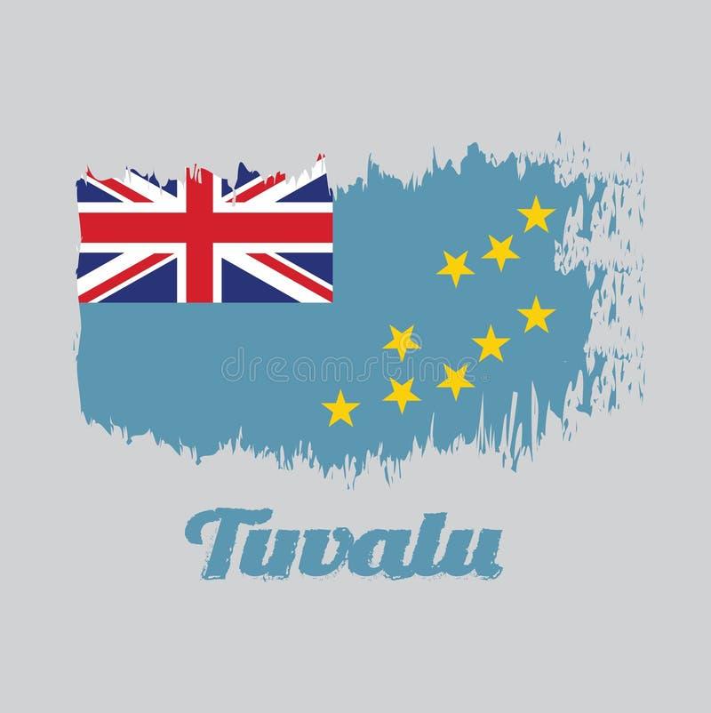 Флаг цвета стиля щетки Тувалу, света - голубого Ensign с картой острова 9 желтых звезд иллюстрация штока