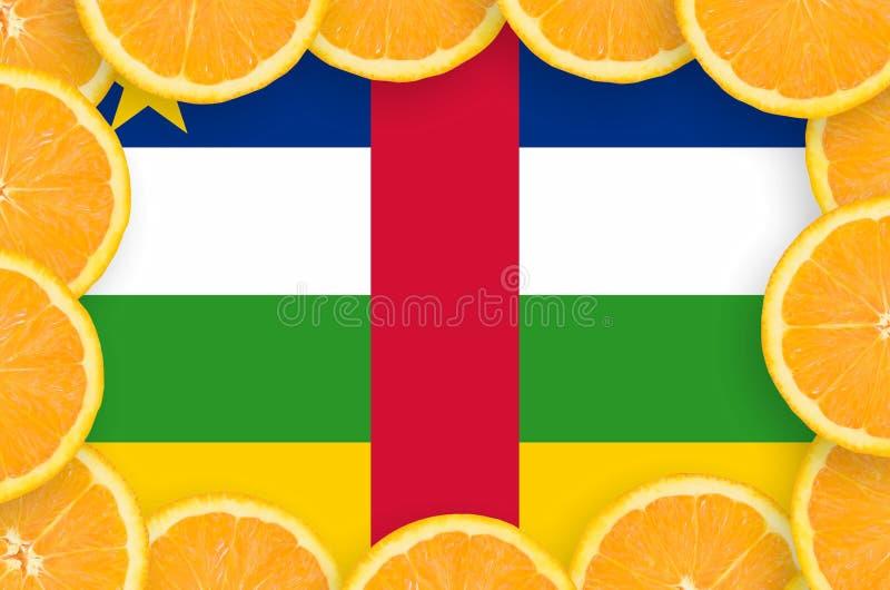 Флаг Центральноафриканской Республики в свежей рамке кусков цитрусовых фруктов бесплатная иллюстрация