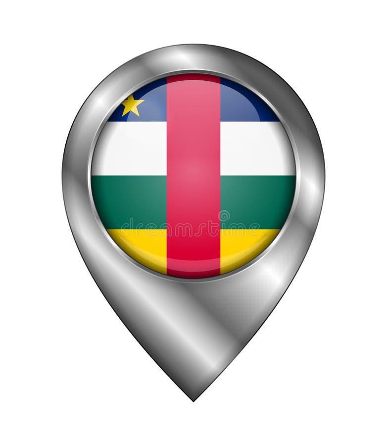 Флаг Центральноафриканской Республики Знак и значок вектора Форма символа положения Серебр бесплатная иллюстрация