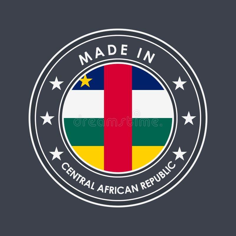 Флаг Центральноафриканской Республики Круглый ярлык с именем страны для уникальных национальных товаров r иллюстрация штока