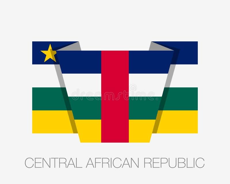 Флаг Центральноафриканской Республики Флаг плоского значка развевая с именем страны на белизне бесплатная иллюстрация